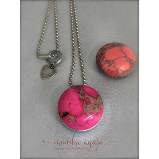 Aromamedál festett rózsaszín jáspis narancs jáspis