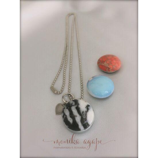 Aromamedál Festett  narancs jáspis zebra jáspis opál